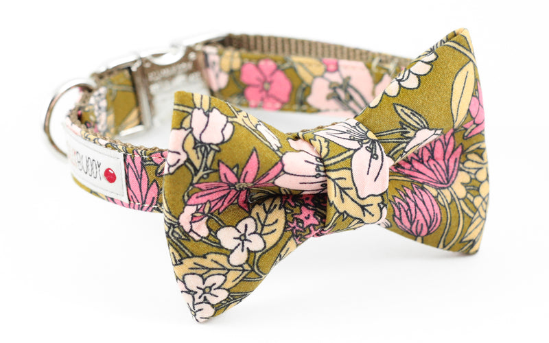 Olive green, pink floral print dog bowtie collar.