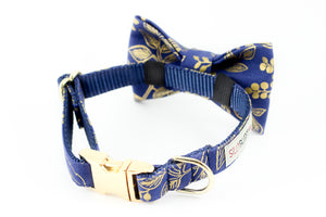 Navy blue with gold floral print, rifle paper co. dog bowtie collar.