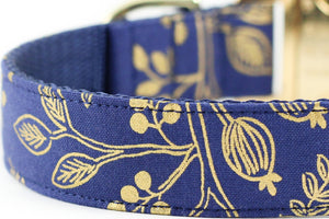 Queen Anne Navy Gold Bowtie Collar