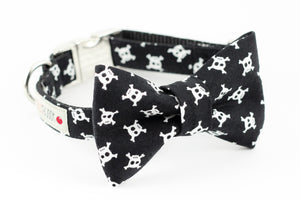 Black skull and crossbones print dog bowtie collar.
