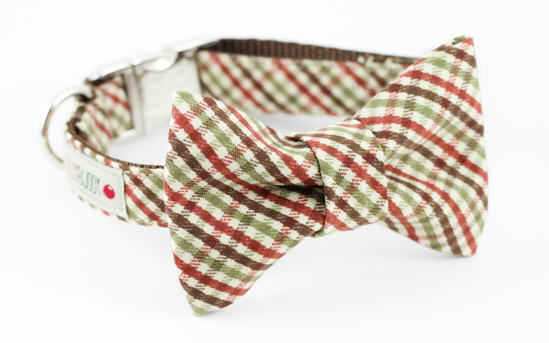 Brown and green mini plaid dog bowtie collar.