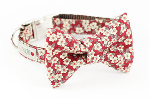 Red and brown daisy, liberty of london dog bowtie collar.