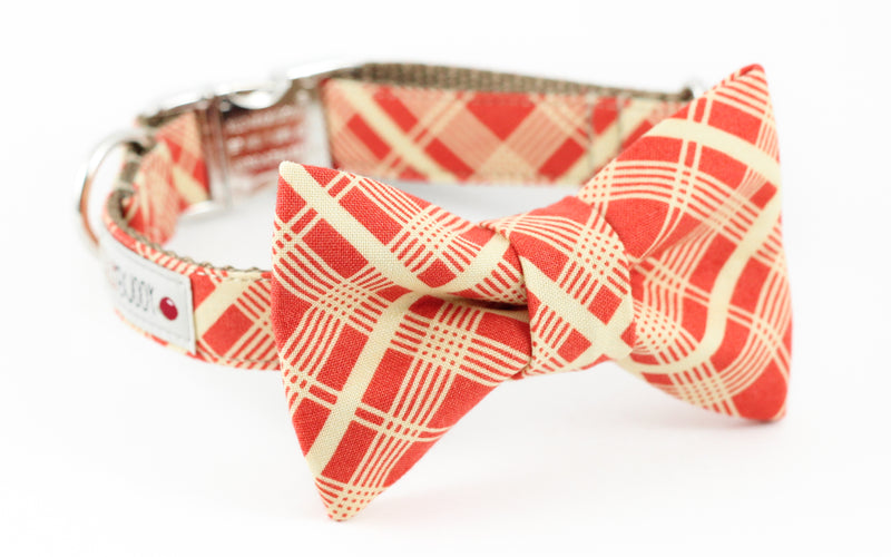 Orange vintage style plaid dog bowtie collar.
