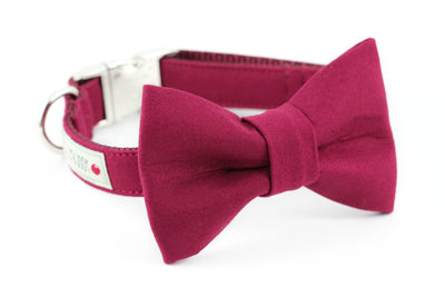 Solid burgundy cotton dog bowtie collar.