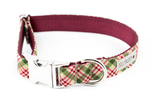 Burgundy Plaid Flower Collar