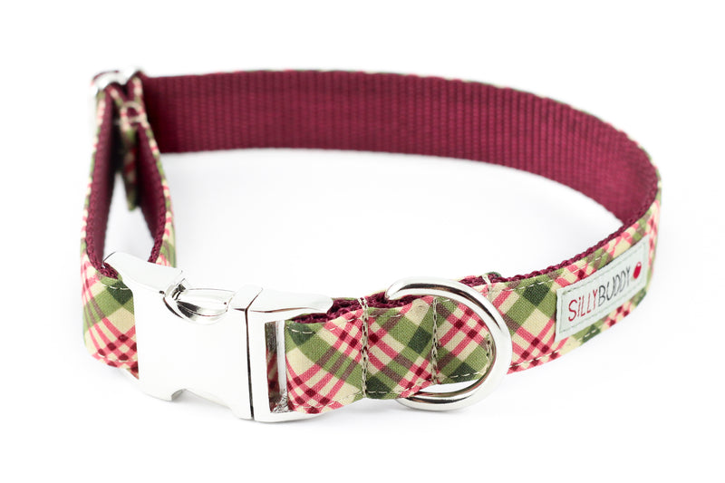 Burgundy Plaid Collar