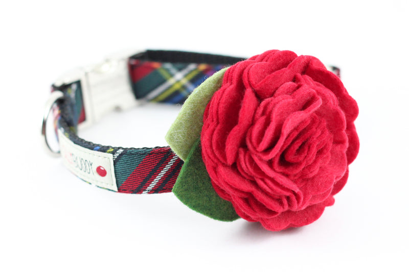 Black Tartan Flower Collar