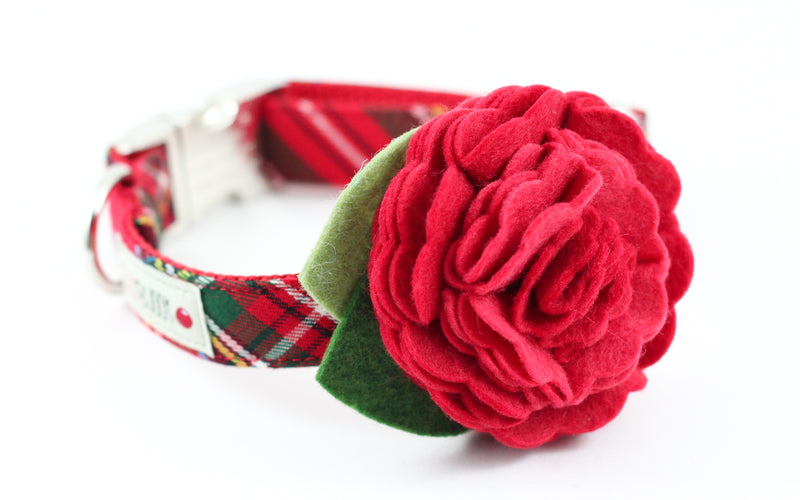 Red Tartan Flower Collar