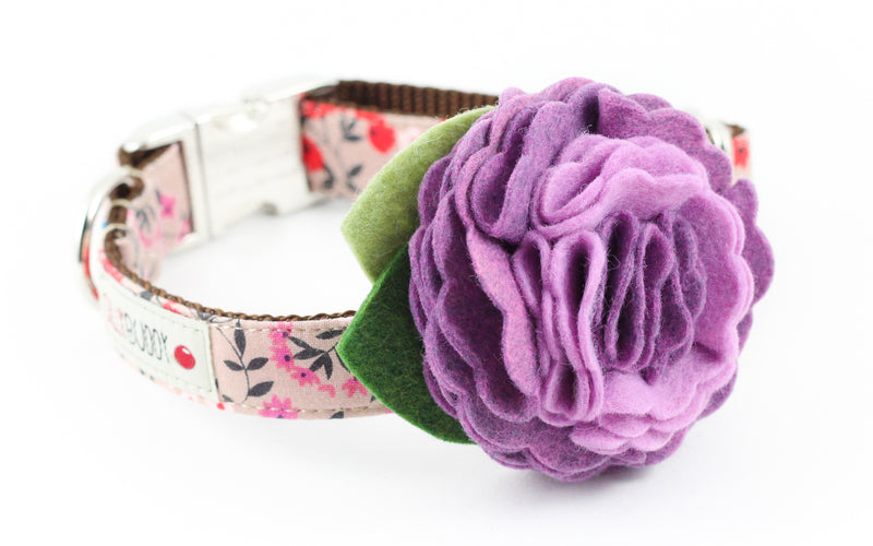 Taupe Floral Flower Collar