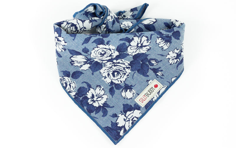 Liberty of London Dog Bandana Chambray Navy Blue Rose Floral