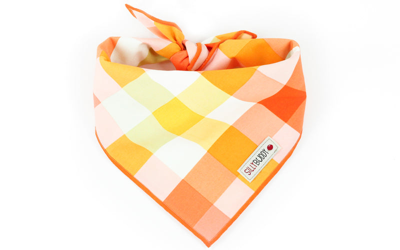 Orange Yellow Plaid Dog Bandana
