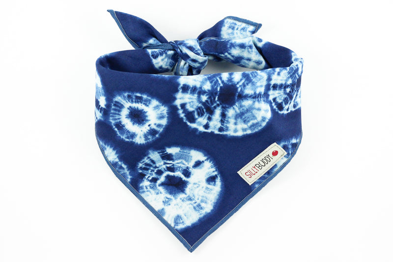 Navy Blue Shibori Print Dog Bandana