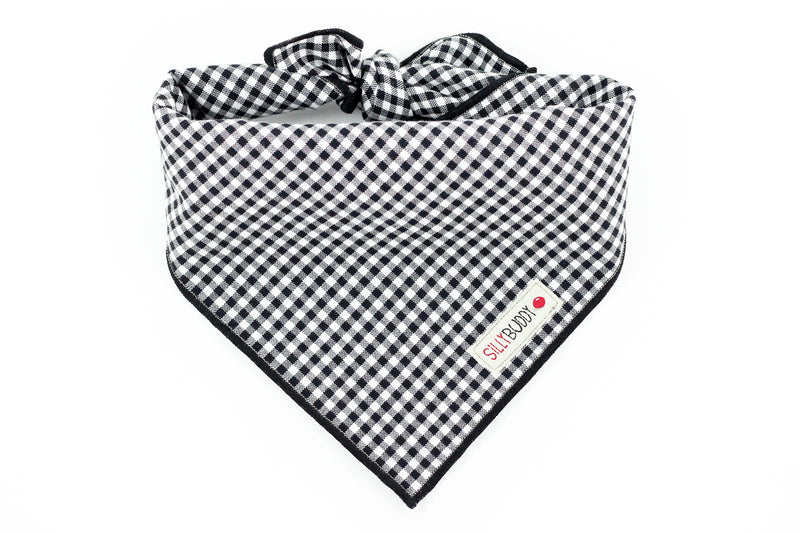 Black Gingham Dog Bandana