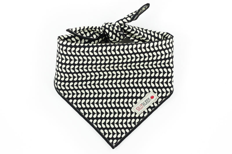 Mod Pattern Black Floral Dog Bandana