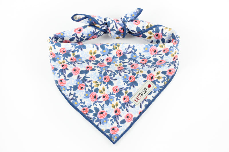 Rifle Paper Co Rosa Floral Periwinkle Dog Bandana
