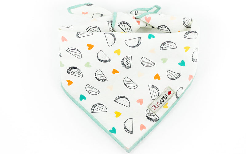 Orange Mint White Taco Print Dog Bandana with Hearts