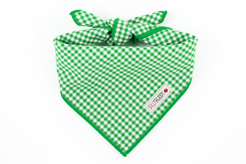 Green Gingham Dog Bandana