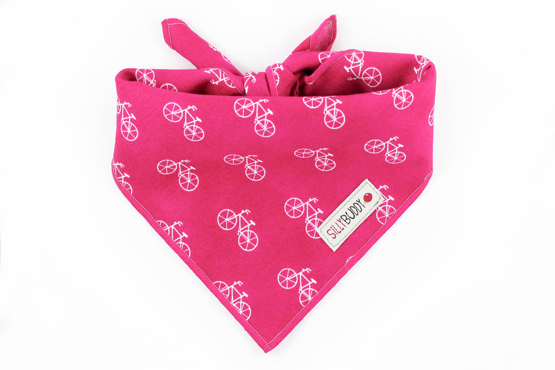 Pink Dog Bandana with Bicycle Print
