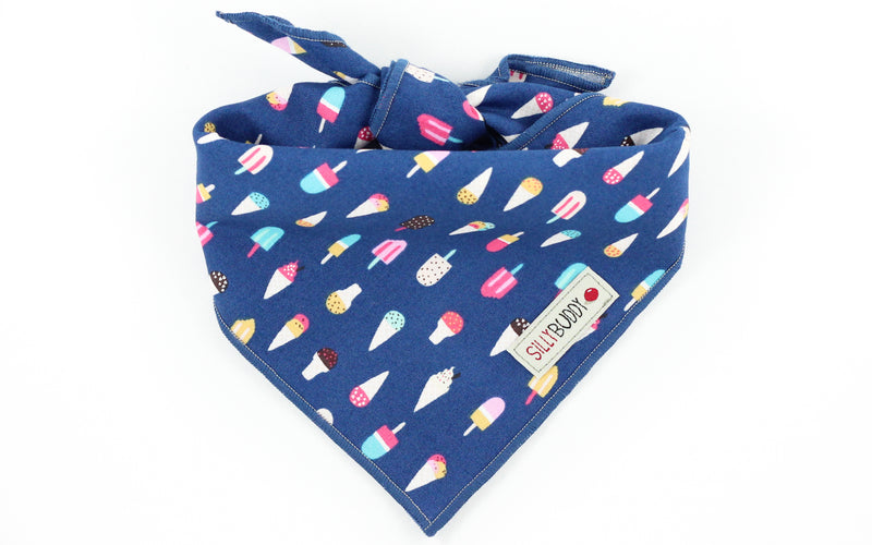 Navy Dog Bandana with Ice Cream Print