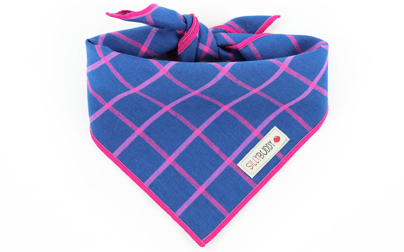 Blue Pink Plaid Dog Bandana