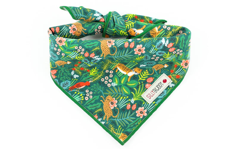 Rifle Paper Co Dog Bandana Jungle in Hunter Green
