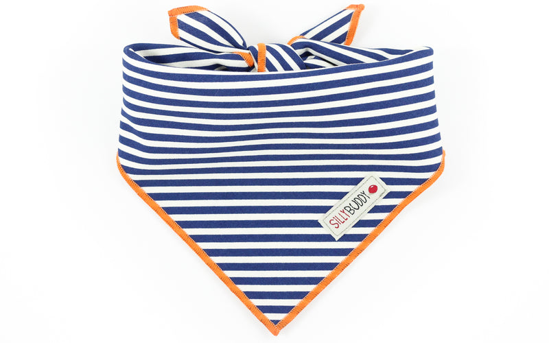 Navy White Stripe Dog Bandana