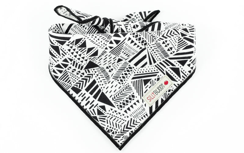 Black White Geometric Dog Bandana