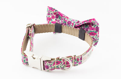 Purple and pink floral, liberty of london print dog bowtie collar.