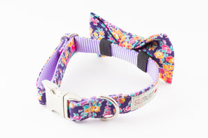 Purple, lilac and orange floral, liberty of london print dog bowtie collar