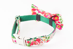 Red, pink and green floral, liberty of london print dog bowtie collar