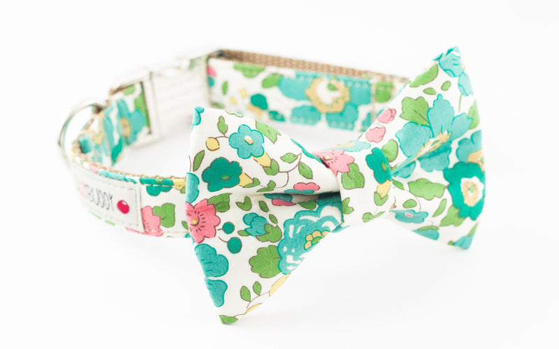 Seafoam green and pink floral, liberty of london print dog bowtie collar