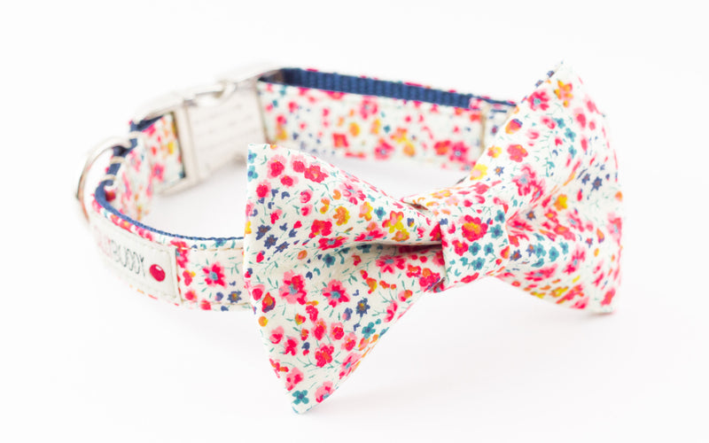 Red, yellow and navy blue mini floral, liberty of london print dog bowtie collar