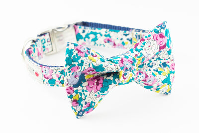Teal green and pink floral, liberty of london print dog bowtie collar