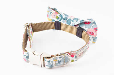 Blue gray, pink and green floral, liberty of london print dog bowtie collar