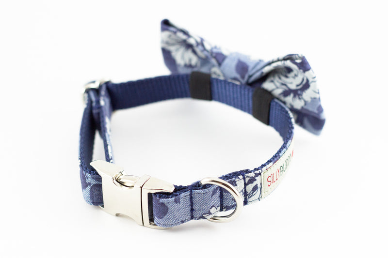 Navy blue chambray floral, liberty of london print dog bowtie collar.