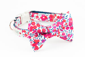Red, pink and navy blue floral, liberty of london print dog bowtie collar