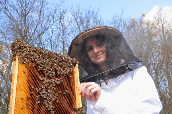 beekeeper and her hive