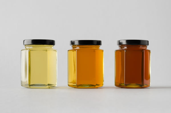 different hues of different types of honey