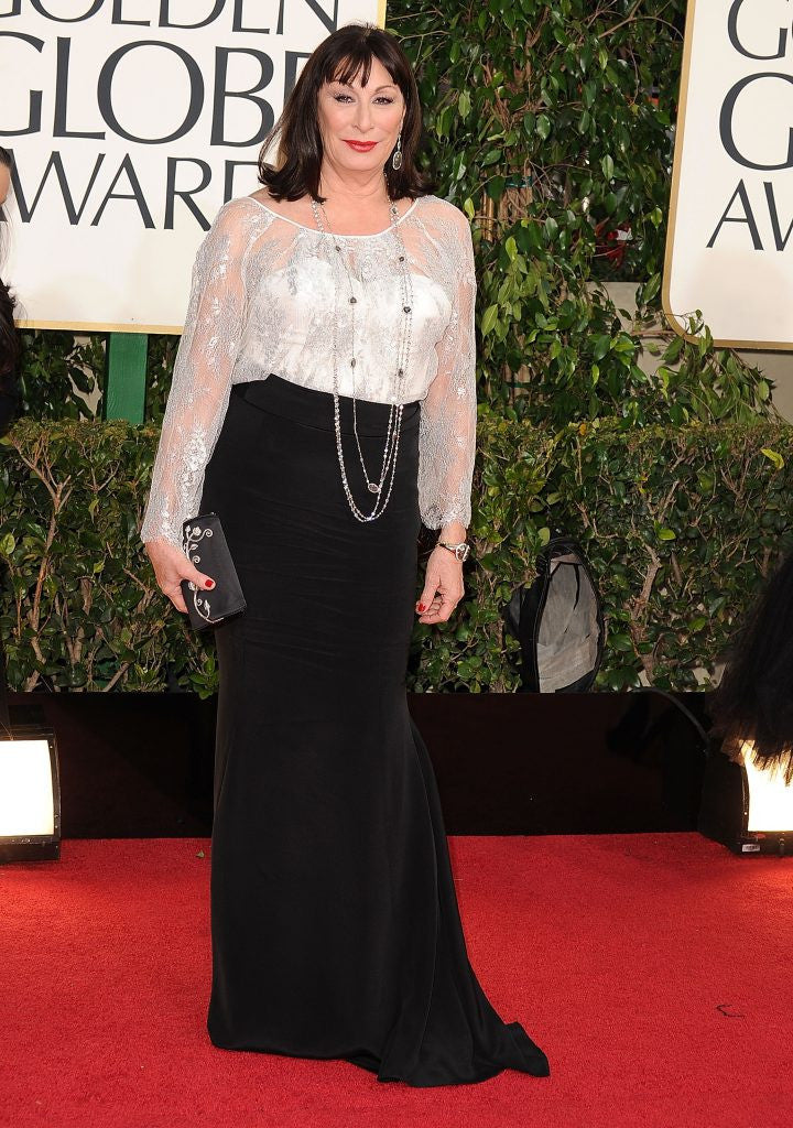 Anjelica Huston wears Dominie Luxury at the Golden Globes