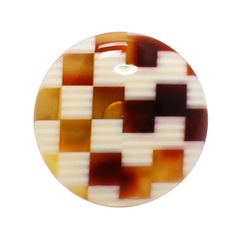Kisso Orange & White Check Handade Lapel Pin