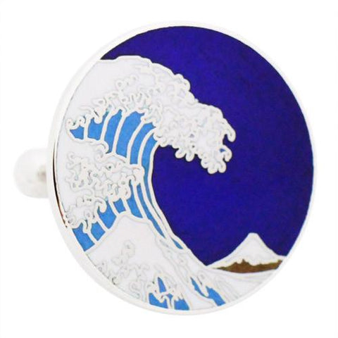 Hokusai Wave Cufflinks The Great Wave off Kanagawaby the Japanese ukiyo-e artist Hokusai. It was published sometime between 1829 and 1833 in the late Edo period as the first print in Hokusai's series Tokyo Shippo ( Tokyo Cloisonne) made waves into cufflinks. Wear your Hokusai Wave Cufflinks by Tokyo Shippo. They also are perfect gifts for groomsmen, friends, and husbands! These Cufflinks are hand made in Japan from high-quality sturdy rhodium.