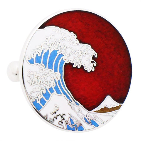 Hokusai Wave Cufflinks The Great Wave off Kanagawa by the Japanese ukiyo-e artist Hokusai. It was published sometime between 1829 and 1833 in the late Edo period as the first print in Hokusai's series Tokyo Shippo ( Tokyo Cloisonne) made waves into cufflinks. Wear your Hokusai Wave Cufflinks by Tokyo Shippo. They also are perfect gifts for groomsmen, friends, and husbands! These Cufflinks are hand made in Japan from high-quality sturdy rhodium.