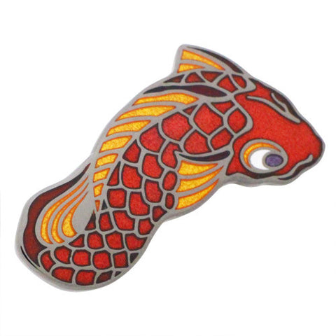 Kasa Bake Lapel Pins Red carp residing in Sumida River Whose size is said to be as large as a small Whale. When it moves in water, the water appeared to be dyed in red. The story tells that when constructing Senj-Ohashi Bridge, the carp hit the piles and shook the bridge, thus they widened the distance between the third and fourth piles. Tokyo Shippo ( Tokyo Cloisonne) made Yokai Pins series, Design by Yokai Designer Yukio Amano.
