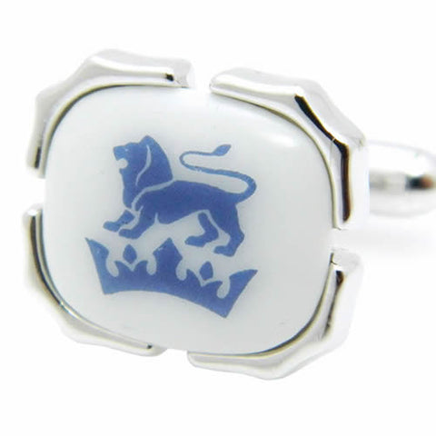 Royal Copenhagen Crown & Lion Cufflinks Royal Copenhagen meets Tokyo cufflinks Royal Copenhagen – Purveyor to Her Majesty the Queen of Denmark since 1775. Manufacturer of hand-painted porcelain in dinnerware, figurines, collectibles. These Cufflinks are hand made in Japan from high-quality sturdy rhodium. The cufflinks will come in a beautiful cufflink box.