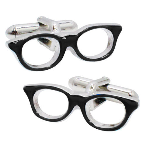 Black Glasses Cufflinks. Wear your Black Glasses Cufflinks by Tokyo Cufflinks. They also are perfect gifts for groomsmen, friends, and husbands! These Cufflinks are hand made in Japan from high-quality sturdy rhodium. The cufflinks will come in a beautiful cufflink box.