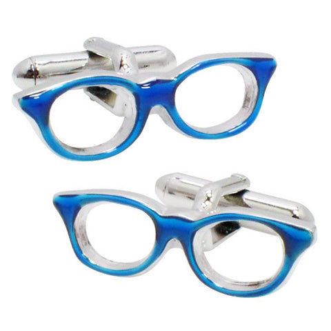 Blue Border Glasses Cufflinks. Wear your Blue Border Glasses Cufflinks by Tokyo Cufflinks. They also are perfect gifts for groomsmen, friends, and husbands! These Cufflinks are hand made in Japan from high-quality sturdy rhodium. The cufflinks will come in a beautiful cufflink box.