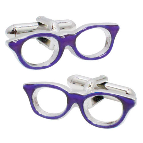 Purple Glasses Cufflinks. Wear your Purple Glasses Cufflinks by Tokyo Cufflinks. They also are perfect gifts for groomsmen, friends, and husbands! These Cufflinks are hand made in Japan from high-quality sturdy rhodium. The cufflinks will come in a beautiful cufflink box.