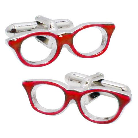 Red Glasses Cufflinks. Wear your Red Glasses Cufflinks by Tokyo Cufflinks. They also are perfect gifts for groomsmen, friends, and husbands! These Cufflinks are hand made in Japan from high-quality sturdy rhodium. The cufflinks will come in a beautiful cufflink box.