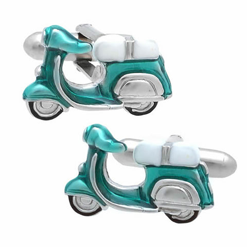 Emerald Blue Scooter Cufflinks. Wear your Emerald Blue Scooter Cufflinks by Tokyo Cufflinks. They also are perfect gifts for groomsmen, friends, and husbands! These Cufflinks are hand made in Japan from high-quality sturdy rhodium. The cufflinks will come in a beautiful cufflink box.