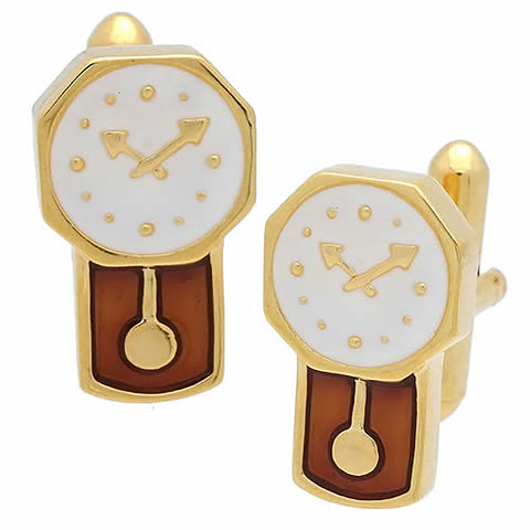 Gold Wall Clock Cufflinks. Wear your Gold Wall Clock Cufflinks by Tokyo Cufflinks. They also are perfect gifts for groomsmen, friends, and husbands! These Cufflinks are hand made in Japan from high-quality sturdy rhodium. The cufflinks will come in a beautiful cufflink box.